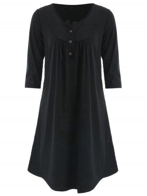 Button Embellished Tunic Dress