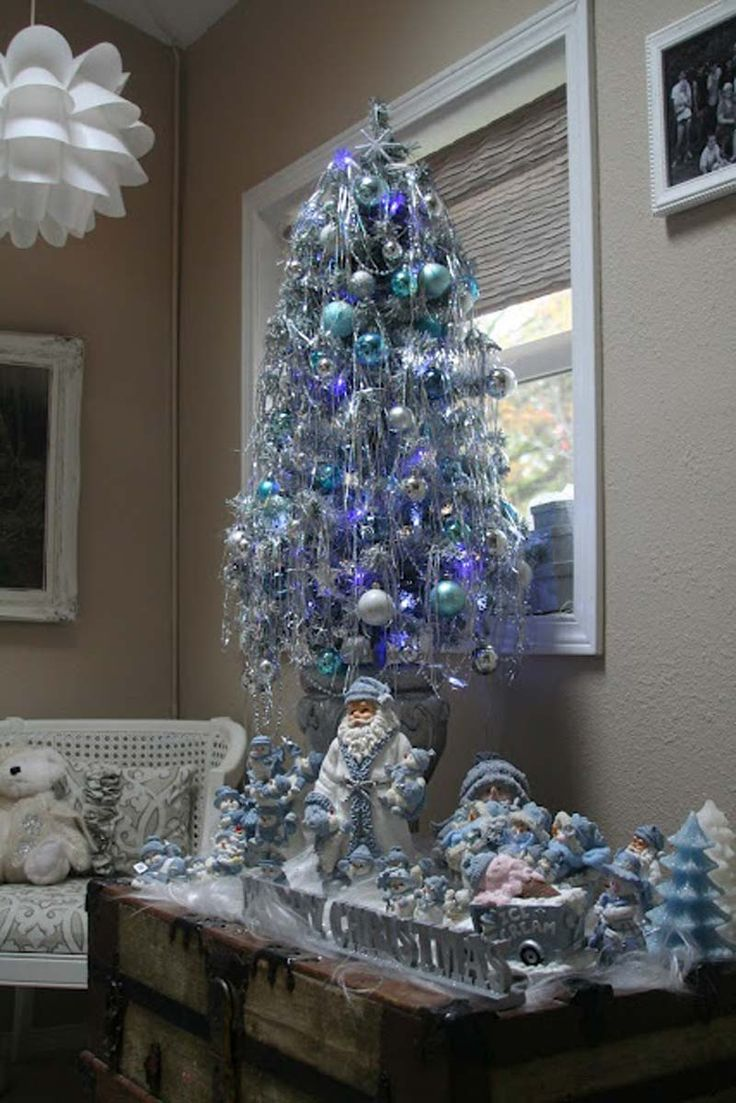 Blue and purple christmas tree decorations - Small Tree With Collection Of Snow Buddies Wishing You A Blue Christmas