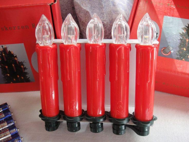 5 Stück LED Weihnachtsbaumkerzen rot, mit Funksteuerung und Batterien