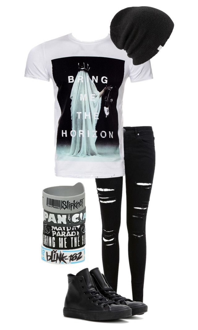 """crooked young//bring me the horizon"" by bands-are-my-savior ❤ liked on Polyvore featuring Blink, Miss Selfridge, Converse and Coal"