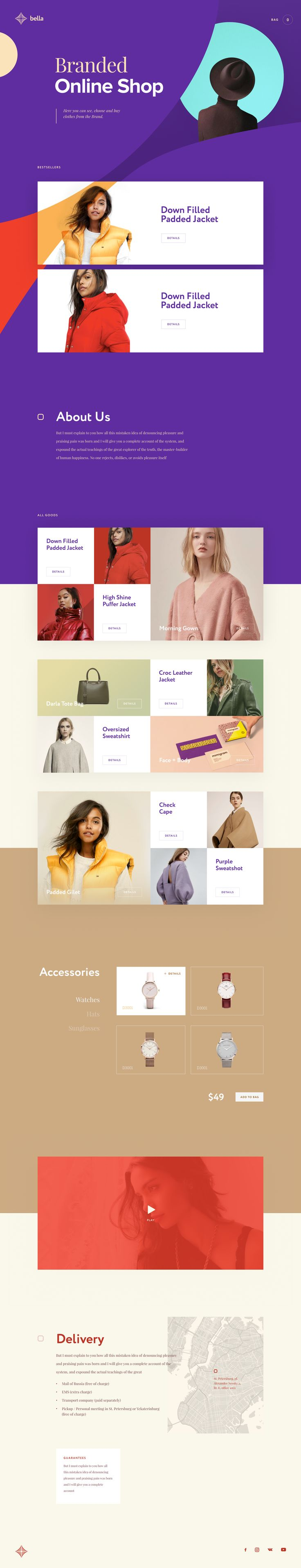 BELLA - Branded Online Shop. Ui concept design and visual identity by Cuberto.