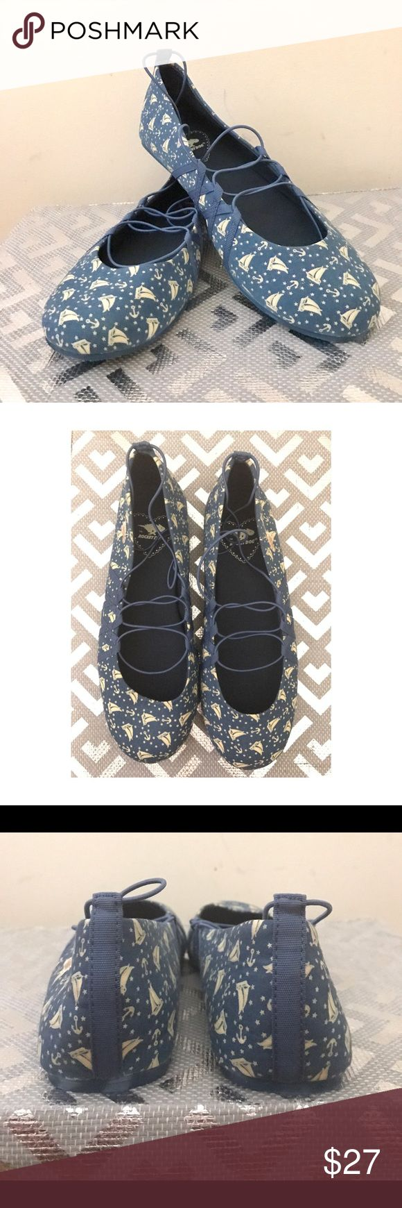 """NWOB ROCKET DOG Ballet Flats """"Nautical"""" Size 7 Darling, brand new, never worn ballet flats by ROCKET DOG. Blue with cream coloured sailboats. Size 7. Rocket Dog Shoes Flats & Loafers"""
