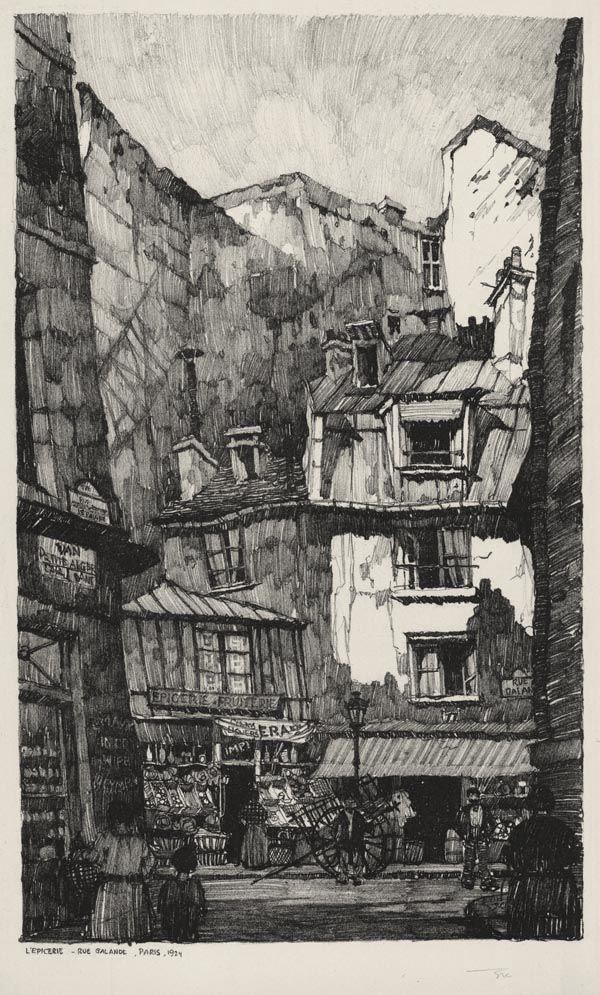 L'Epicerie, Rue Galande, Paris / Samuel Chamberlain (1895-1975, American) Lithograph.