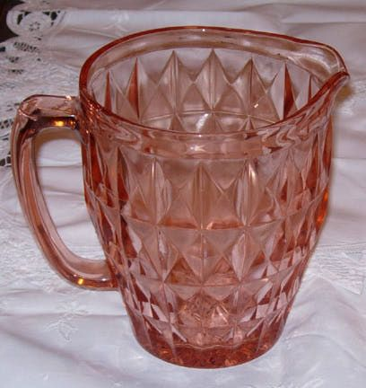 Windsor Pink Depression Glass Pitcher