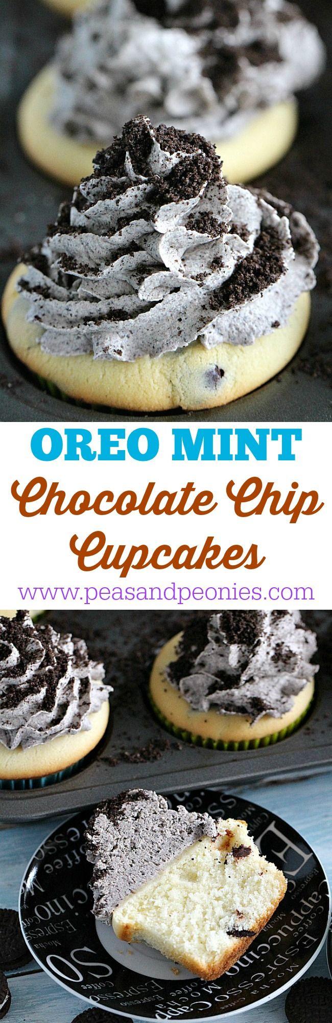 Mint Chocolate Chip Oreo Cupcakes - Peas and Peonies