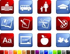 school and education twelve royalty free icons vector art illustration