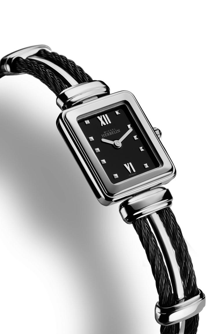Super stylish monochrome Cable bracelet watch from Michel Herbelin.   ref.17114/BNA14.