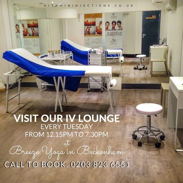 Hello from our IV lounge at Breeze Yoga in Beckenham!  We're at Breeze Yoga every Tuesday from 12.15pm to 7.30pm, offering a fantastic range of pioneering fitness, energy-boosting, anti-ageing and fat burning injections using medical grade vitamins, minerals and amino acids, as well as Vitamin Injections London's range of take-home products designed to enhance and prolong the effects of IV therapy treatments.  Breeze Yoga is located at: 9 Albemarle Road, Beckenham, Kent BR3 5HZ   Visit us…