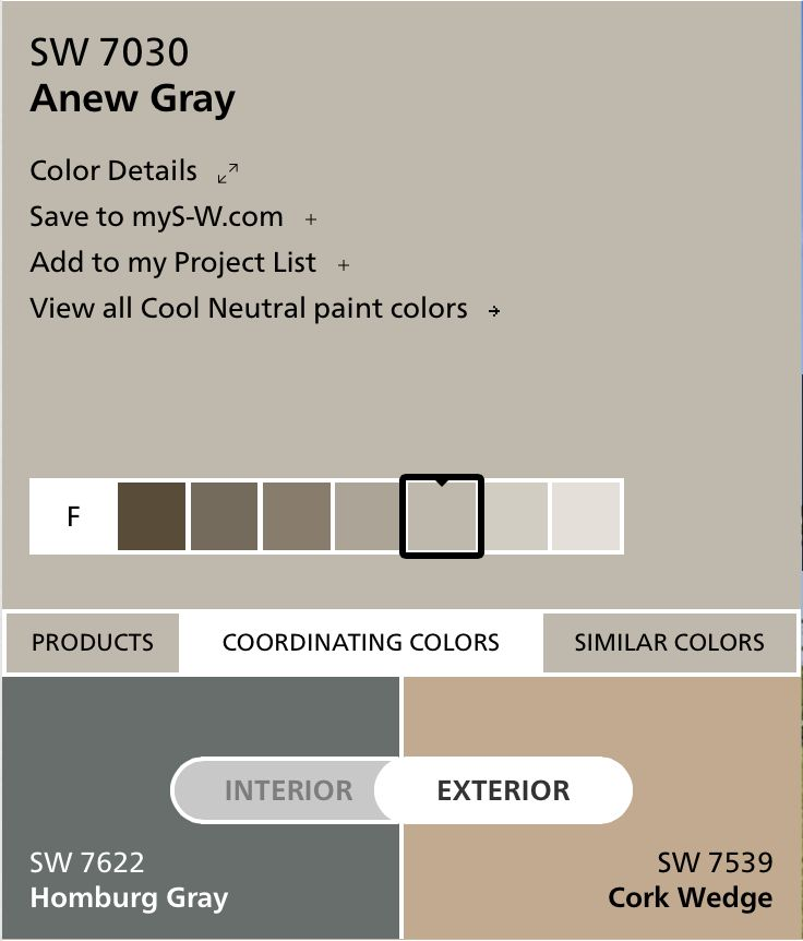 Ext Paint Colors Anew Gray For Base Cork Wedge For Trim