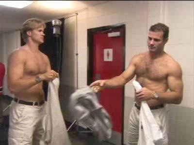 chris pronger & eric lindros.  (where is this from?!  team canada 2002?)