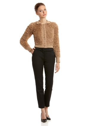 RED VALENTINO Loop Knit Bomber Jacket - this looks like the rugs that the kids sleep on when they are in Kindergarten