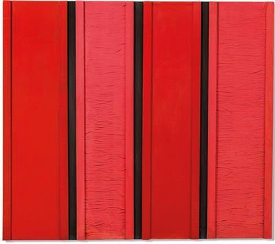 Tano Festa. Rosso Nero n. 44, 1961, intitolato, firmato e datato due volte Tano Festa, Rosso Nero n. 44, 1961 sul telaio, smalto, tempera, legno, carta su tela, 150,5 x 170 cm, su telaio