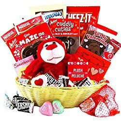 Valentine's Day Gift Basket (25 Count) - Chocolates, Candy, Hearts - College Variety Bundle - Gift Assortment