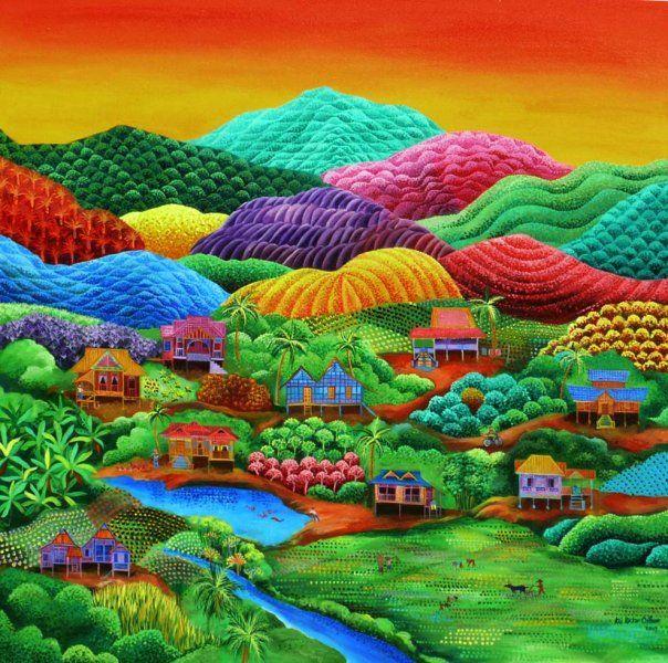 Art Naïf Malaisien. Se promener dans le tableau, plonger dans ses couleurs et en ressortir rafraîchie, dynamisée. Par le mental, je vogue vers l'état de vacances bienfaisantes ;-)