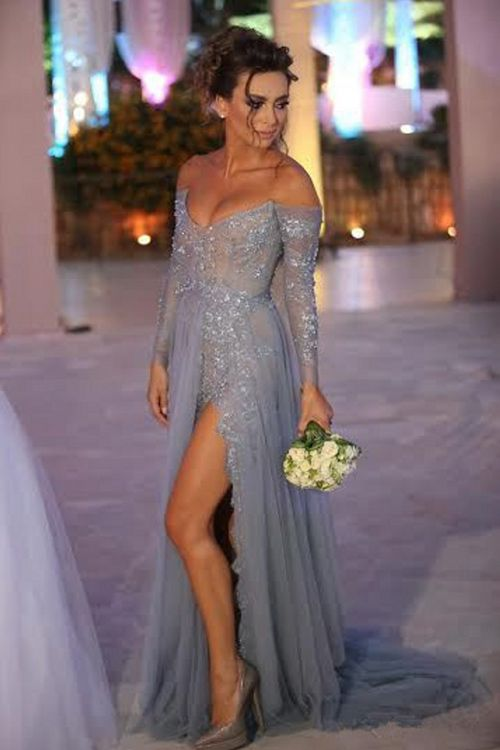 Long Sleeves Grey Prom Evening Dress – Sweep Train V-neck Appliques Beading   be8af305dbce