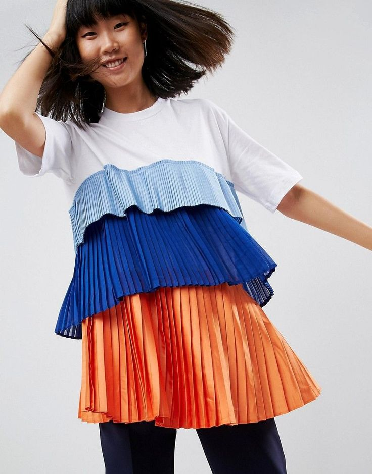 ASOS WHITE Satin And Tulle T-Shirt - Multi