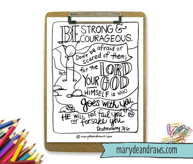 FREE Printable Be Strong And Courageous Deuteronomy 316
