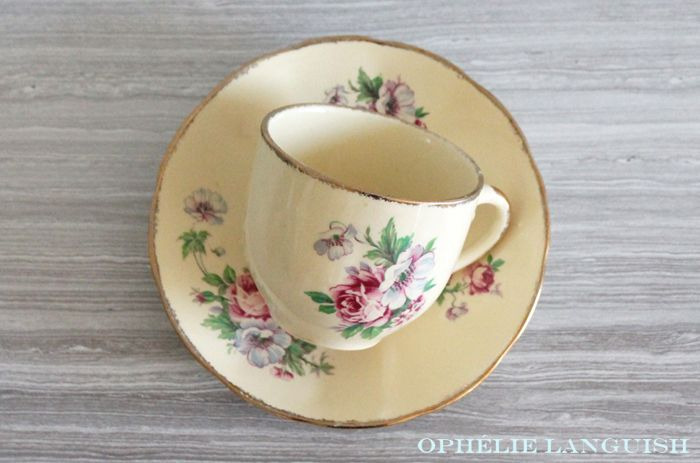 Rare Shabby Chic Vintage Pale Yellow Wm Hulme Royal Braemar Fine China Tea Cups & Saucers with Rose Floral Motif - Made in England available at Ophélie Languish. home, living, kitchen, dining, serveware, tea set, shabby chic, cottage chic, cream, pale yellow, floral, pink rose, blue flowers, royal braemar, set, wm hulme, hulme, william hulme, england, fine china, replacement china, rare, tea cups, tea cups and saucers
