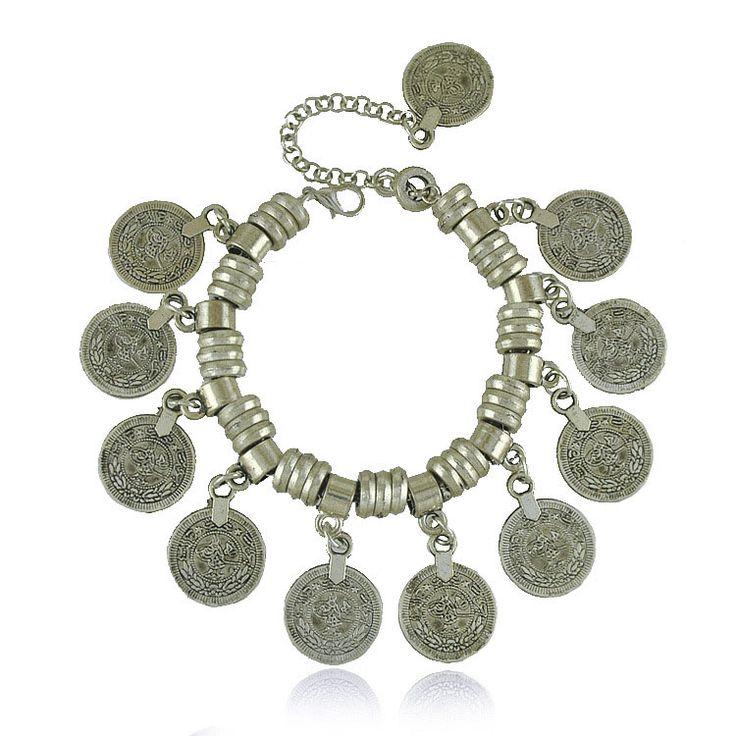 Ну вечеринку хиппи Boho поп-воздушными мотаться серебряная монета коренастый богемия резные монета браслет этнические Boho этническая цыганский браслеты ювелирные изделия