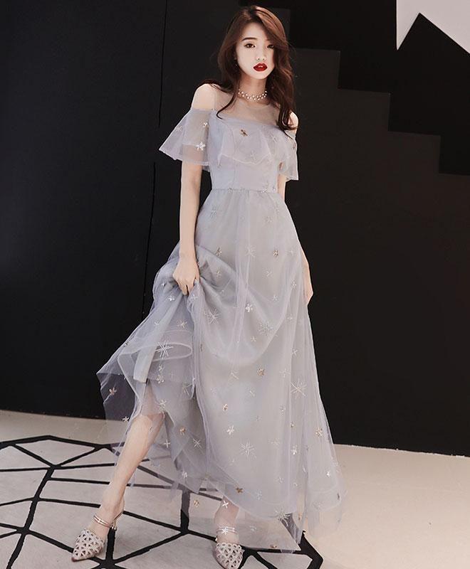 Gray tulle tea length prom dress, gray tulle evening dress – #dress #evening #Gr…