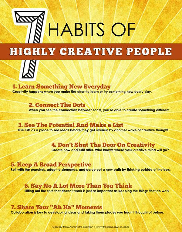 "Steven Covey wrote this book many years ago...and it is still considered a ""must-read!""  7 Habits of Highly Creative People"
