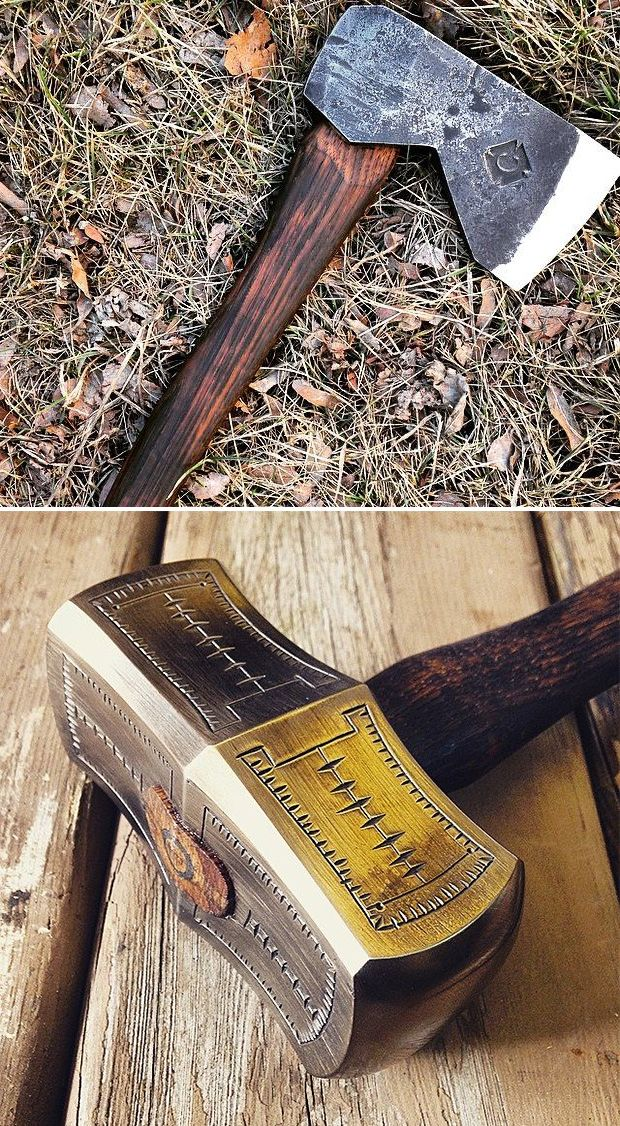 Cergol Tool - Handcrafted in America by a 24-year old blacksmith from Milwaukee, these axes, knives, & hammers are original designs based on historical tools and feature the blacksmith's unique decorative touches, making them as beautiful as they are functional. $130