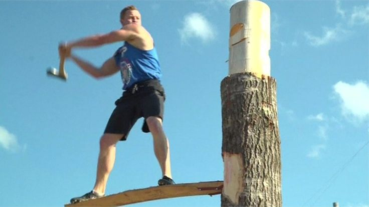 Lumberjack championships: Log roll or springboard chop? https://tmbw.news/lumberjack-championships-log-roll-or-springboard-chop  Lumberjacks and 'lumberjills' have been showing off their skills at World Championships held in the US state of Wisconsin.The competition, featuring skills tests such as log-rolling, pole climbing and dashing across floating logs, has been held annually since 1960.