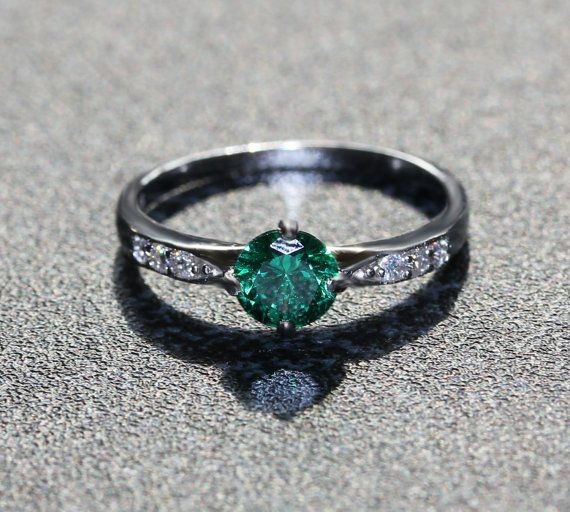 Genuine Emerald Solitaire engagement ring by TheAladdinsCave