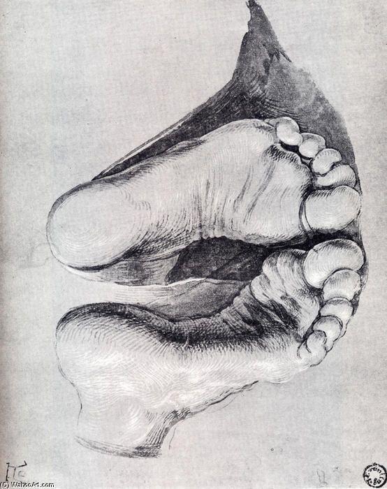 'füße von einem kniend mann', 1508 von Albrecht Durer (1471-1528, Germany)