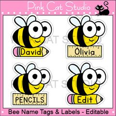 Bee Theme Classroom - Name Tags and Labels - Editable - Pink Cat Studio
