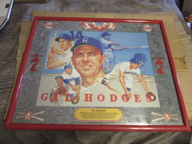 New Gil Hodges Brooklyn Dodgers Seagrams 7 Mirror Bar Beer Sign Game Room Pub