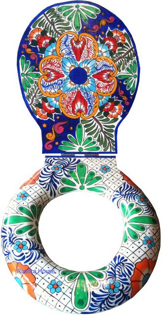 Decorative Blue Green Toilet Seat