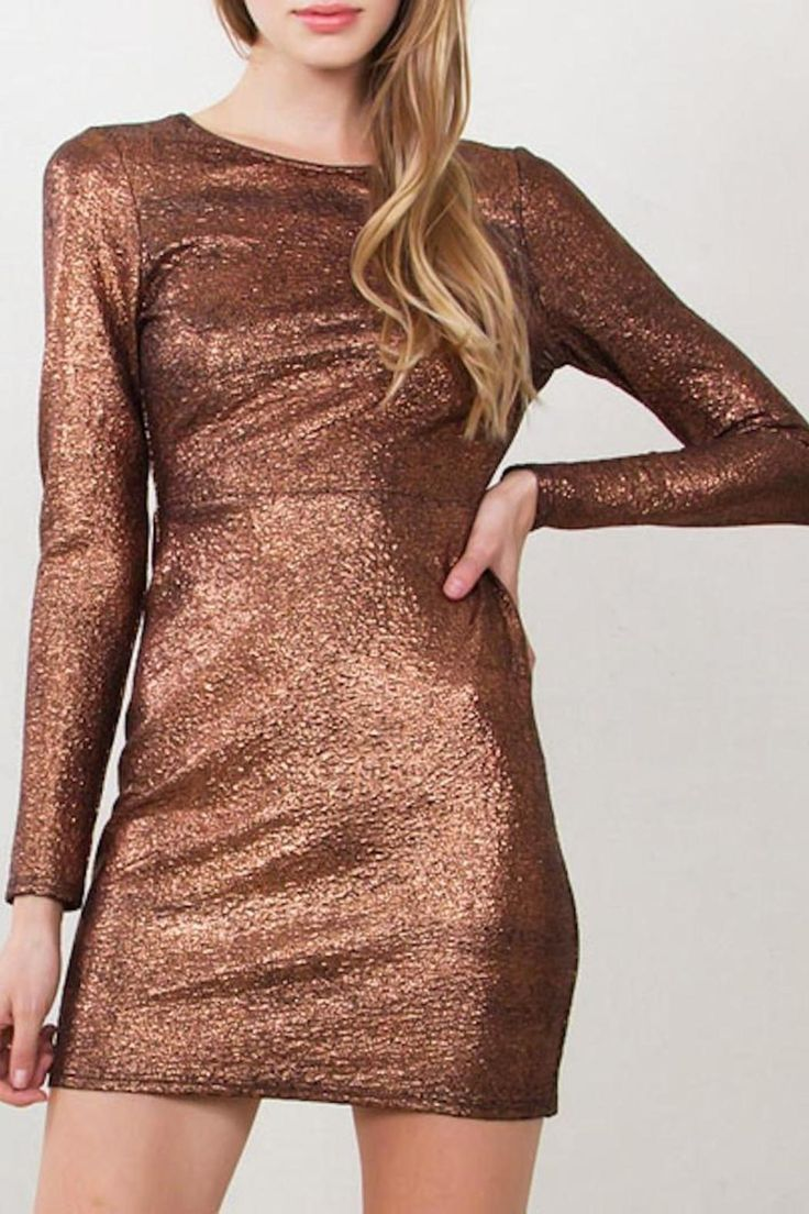 Copper metallic long sleeve body con dress with an open back. Self tie and zipper closure in back.   Metallic Bodycon Dress by Yipsy. Clothing - Dresses - Night Out Clothing - Dresses - Long Sleeve Louisiana