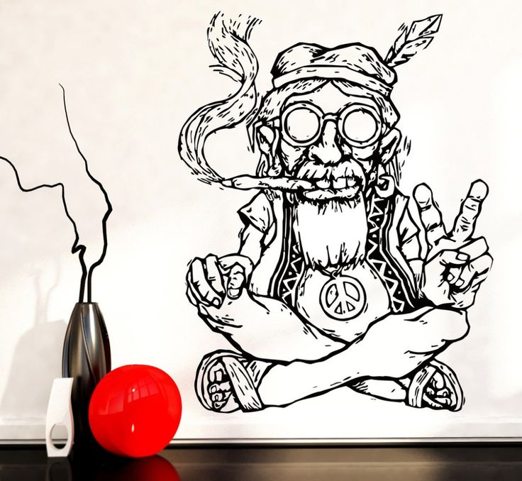 New Design Vinyl Wall Stickers Home Decor Living Room Hippie In Glasses Smoking Weed Marijuana Peace Symbol Ethnic Decor SA174