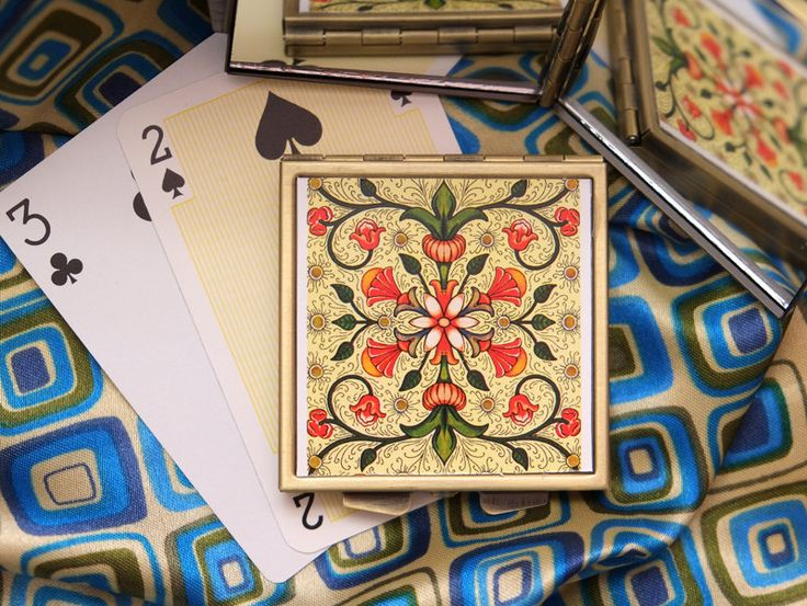 Orange and Peach Coloured Blossoms, Geometric Pattern Playing Card - Mirrored Compact by karenarts on Etsy
