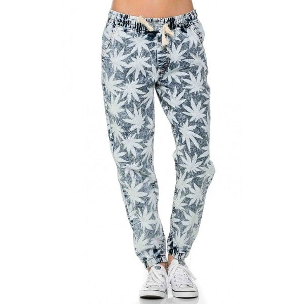 Weed Print Denim Jogger Pants ($25) ❤ liked on Polyvore