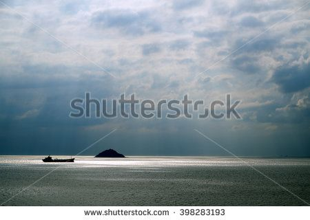 Cloudscape and Sea with A Little Ship and Island