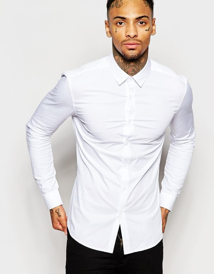 ASOS Skinny Fit Shirt In White With Long Sleeves