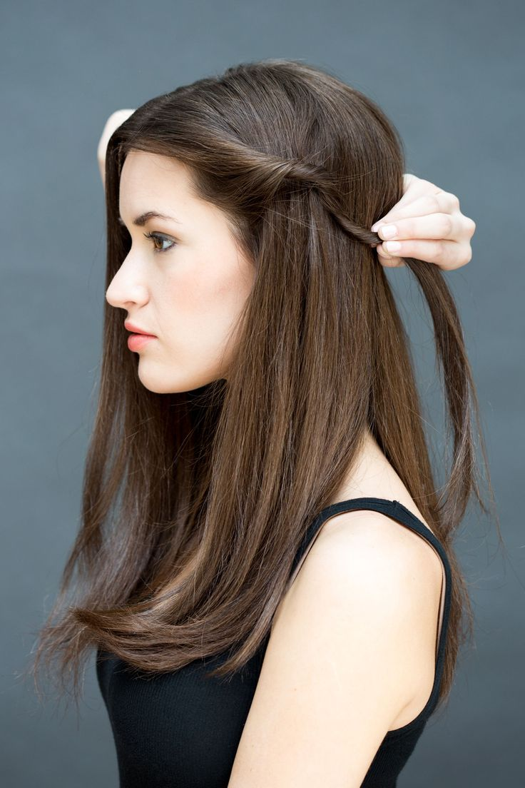 "Section out a small one-inch piece of hair from one side and twist it away from your face. ""If your hair is on the finer side, tease the section slightly, twist hair and then spray TRESemmé Keratin Smooth Frizz-Free Hold Hairspray to keep the style in place,"" explains Peña. - MarieClaire.com"