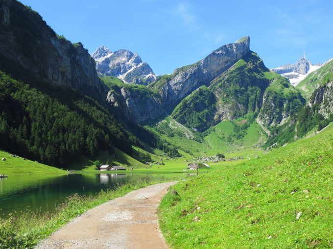 スイス東北部・アッペンツェル地方。スイスチーズを代表するアッペンツェルチーズの里としても有名なこの地方は,美しい山々や展望台・湖などたくさんの見どころがある地方。特に山々を映す紺碧の湖・ゼーアルプ湖(Seealpsee)の美しさはスイスの中でも抜群!この地方を代表する名山ゼンティスの眺めも最高です。湖のほとりにはホエー(乳清)風呂に入れる農家も!魅力たっぷりのゼーアルプ湖に出かけてみませんか。