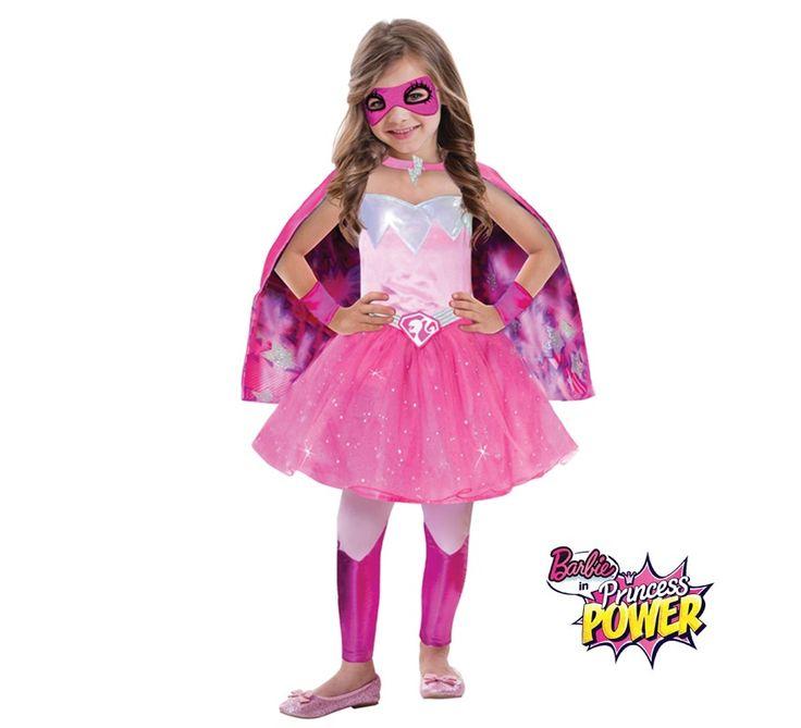 Disfraz superheroína princesa Barbie Super Power para niñas en varias tallas. Se compone de vestido, capa, leggings, brazaletes y antifaz. Disfraz con licencia oficial Mattel de Barbie, de su línea Princess Power. Completa este disfraz con artículos de nuestra sección de complementos como varita, tiara, peluca, maquillaje...