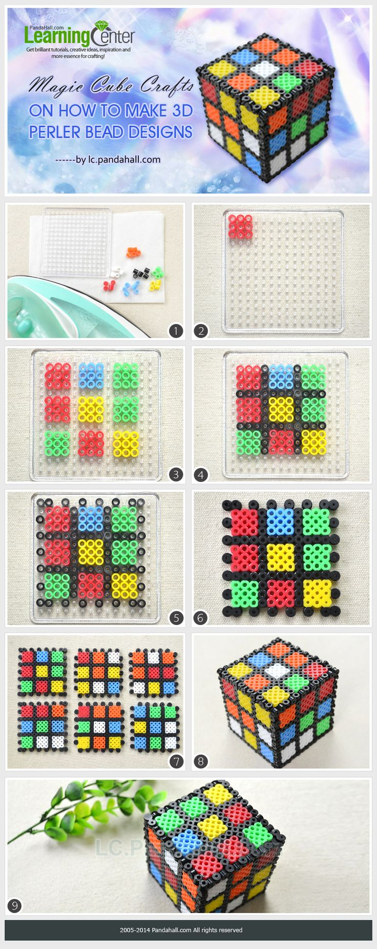 DIY 3D Rubik Magic Cube Perler Bead Design