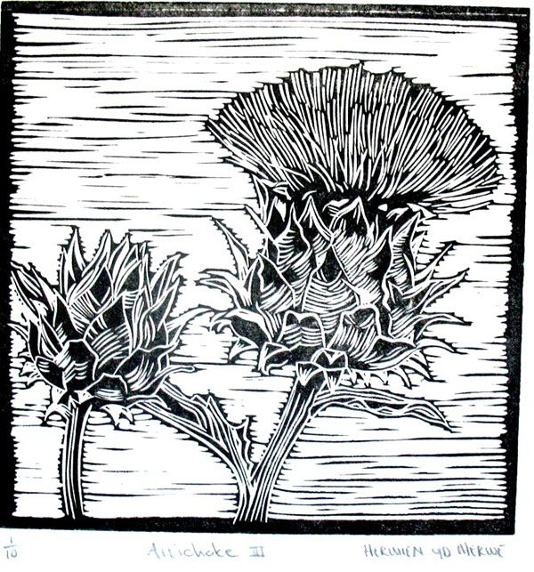 Title: Artichoke III Medium: Linotype Edition: 1/10 Size: 200 x 200mm Artists thoughts: Artichokes are wholesome food with deeper symbolic meaning to me. The vegetable needs to be cooked well to be enjoyed. The hard outer layers need to be peeled away to get to the heart of the artichoke. God also peeles away our outer layers to get to our heart – He is interested in our hearts.