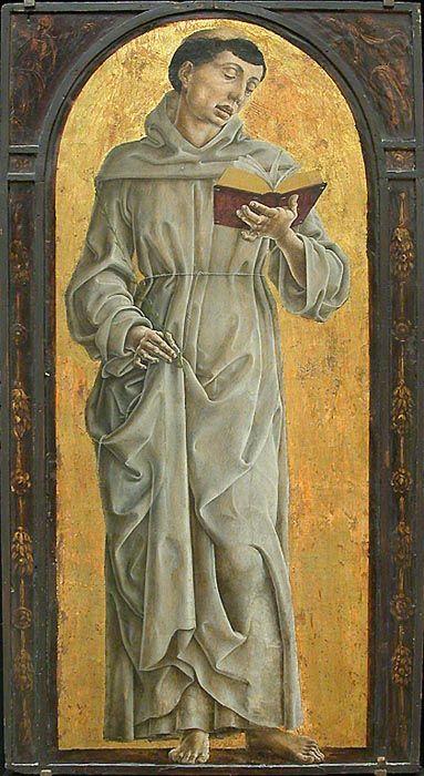 Cosmè TURA Ferrare, vers 1433 - Ferrare, 1495 Saint Antoine de Padoue lisant Vers 1475 H. : 0,71 m. ; L. : 0,31 m. Elément d'un retable auquel appartenaient aussi un Saint Jacques le Majeur (Caen, musée des Beaux Arts) et un Saint Dominique (Florence, Offices).