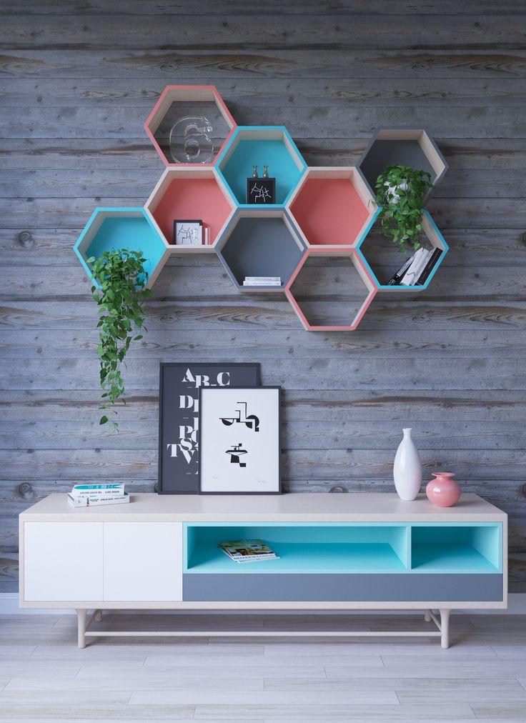 Shelves hexagonal shape