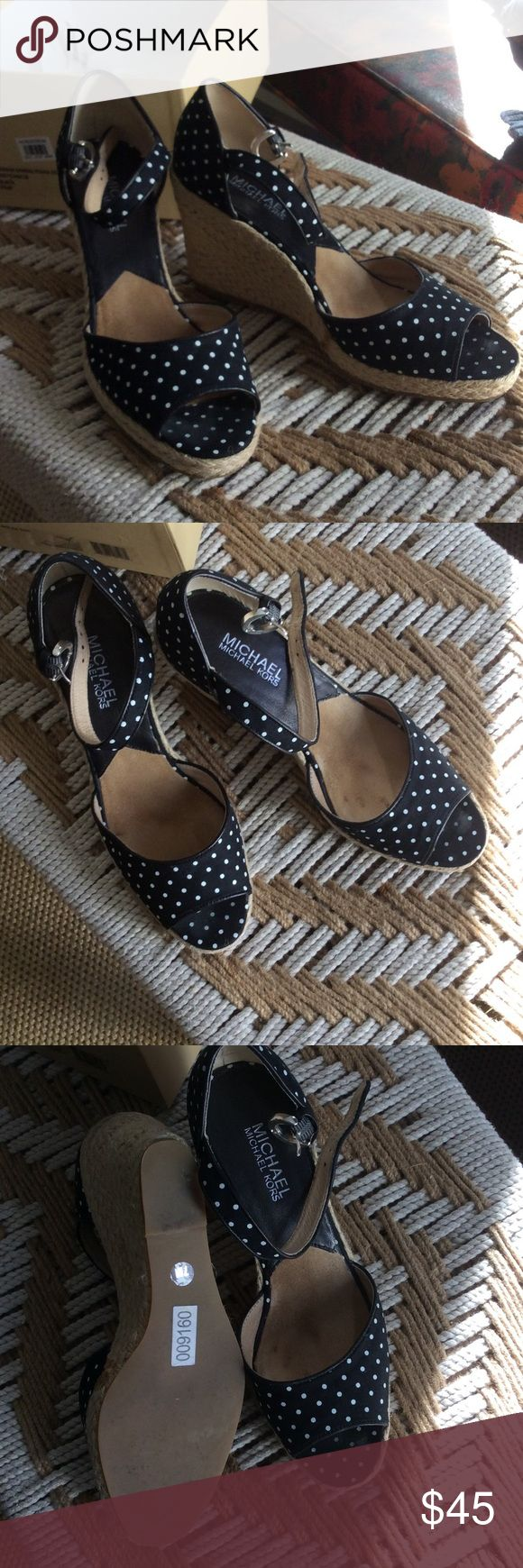 Michael Kors polka dot black and white wedges In almost new condition, with box. These are a wardrobe staple! Size 7 black and white Michael Kors Shoes Wedges