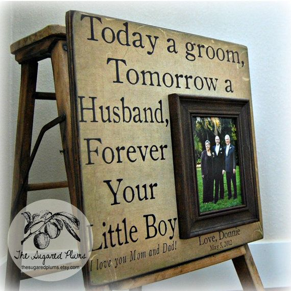 Parents Wedding Gift Personalized Picture Frame by thesugaredplums, $75.00
