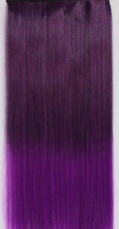 Clip in extension strook / Ombre  zwart - paars / 60 cm