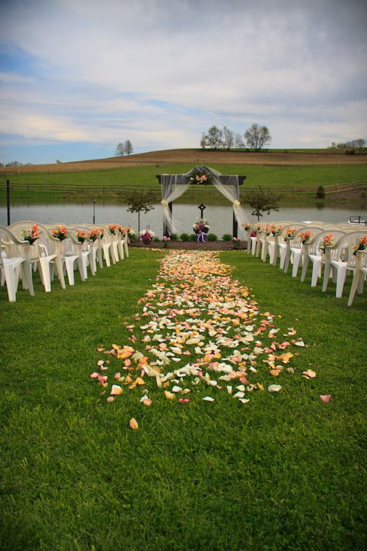 Flower Petal Runner - Outdoor Wedding Ceremony