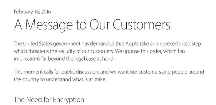 Apple responde a la petición del FBI para acceder al iPhone de un delincuente en una carta abierta - http://www.actualidadiphone.com/apple-responde-a-la-peticion-del-fbi-en-una-carta-abierta/